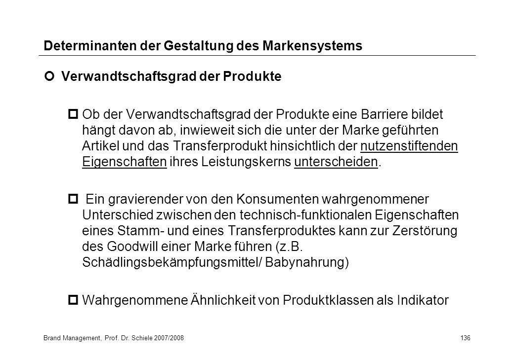 Brand Management, Prof. Dr. Schiele 2007/2008136 Determinanten der Gestaltung des Markensystems Verwandtschaftsgrad der Produkte pOb der Verwandtschaf