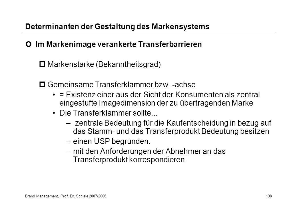 Brand Management, Prof. Dr. Schiele 2007/2008138 Determinanten der Gestaltung des Markensystems Im Markenimage verankerte Transferbarrieren pMarkenstä