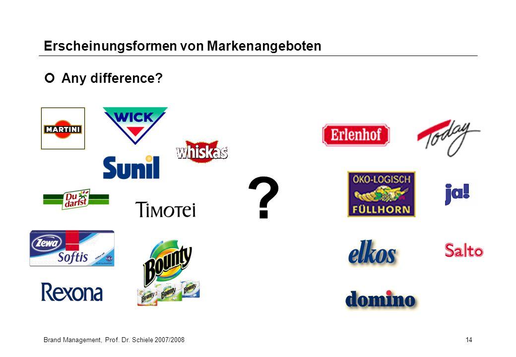 Brand Management, Prof. Dr. Schiele 2007/200814 ? Erscheinungsformen von Markenangeboten Any difference?