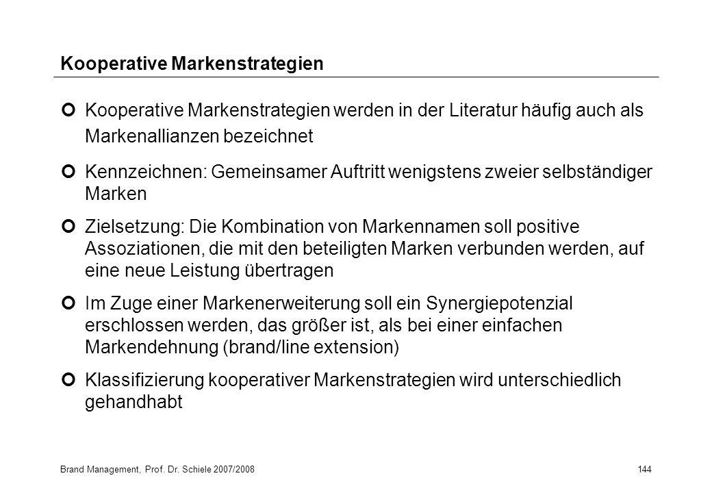 Brand Management, Prof. Dr. Schiele 2007/2008144 Kooperative Markenstrategien Kooperative Markenstrategien werden in der Literatur häufig auch als Mar