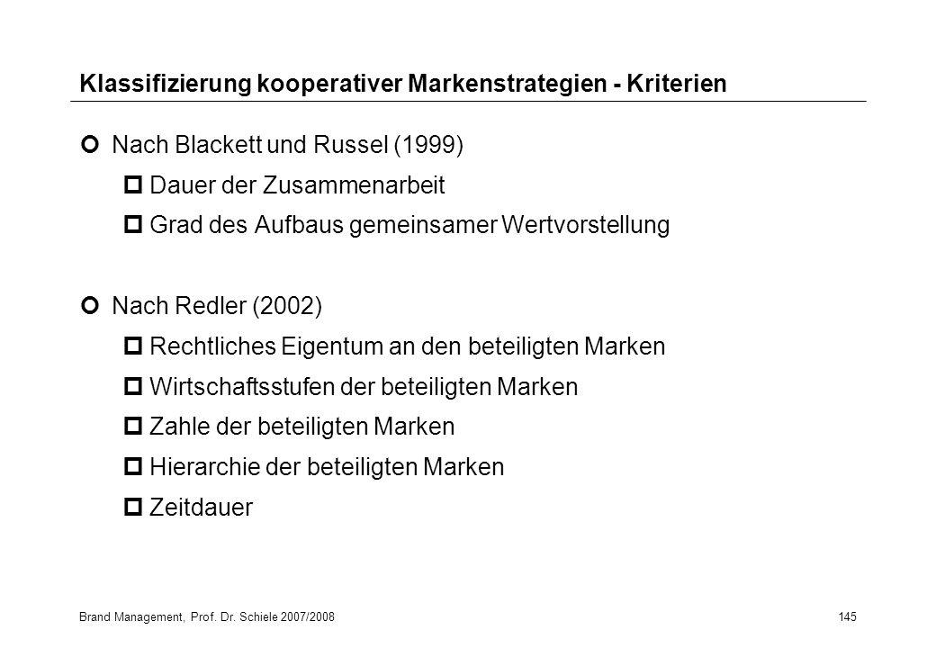 Brand Management, Prof. Dr. Schiele 2007/2008145 Klassifizierung kooperativer Markenstrategien - Kriterien Nach Blackett und Russel (1999) pDauer der