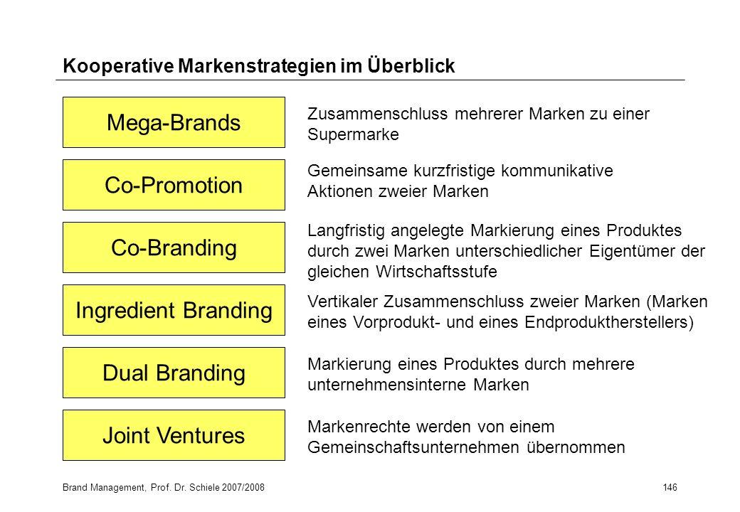 Brand Management, Prof. Dr. Schiele 2007/2008146 Kooperative Markenstrategien im Überblick Mega-Brands Co-Promotion Co-Branding Ingredient Branding Du