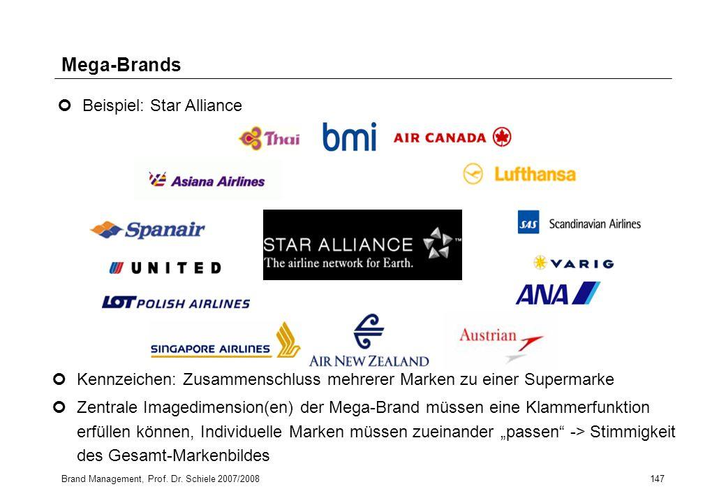 Brand Management, Prof. Dr. Schiele 2007/2008147 Mega-Brands Kennzeichen: Zusammenschluss mehrerer Marken zu einer Supermarke Zentrale Imagedimension(