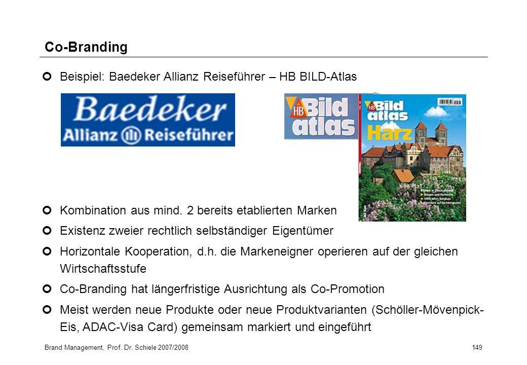 Brand Management, Prof. Dr. Schiele 2007/2008149 Co-Branding Kombination aus mind. 2 bereits etablierten Marken Existenz zweier rechtlich selbständige