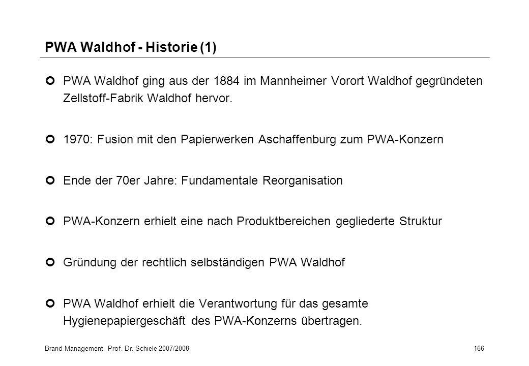 Brand Management, Prof. Dr. Schiele 2007/2008166 PWA Waldhof - Historie (1) PWA Waldhof ging aus der 1884 im Mannheimer Vorort Waldhof gegründeten Zel
