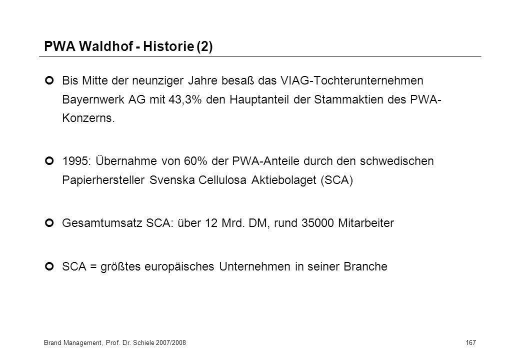 Brand Management, Prof. Dr. Schiele 2007/2008167 PWA Waldhof - Historie (2) Bis Mitte der neunziger Jahre besaß das VIAG-Tochterunternehmen Bayernwerk