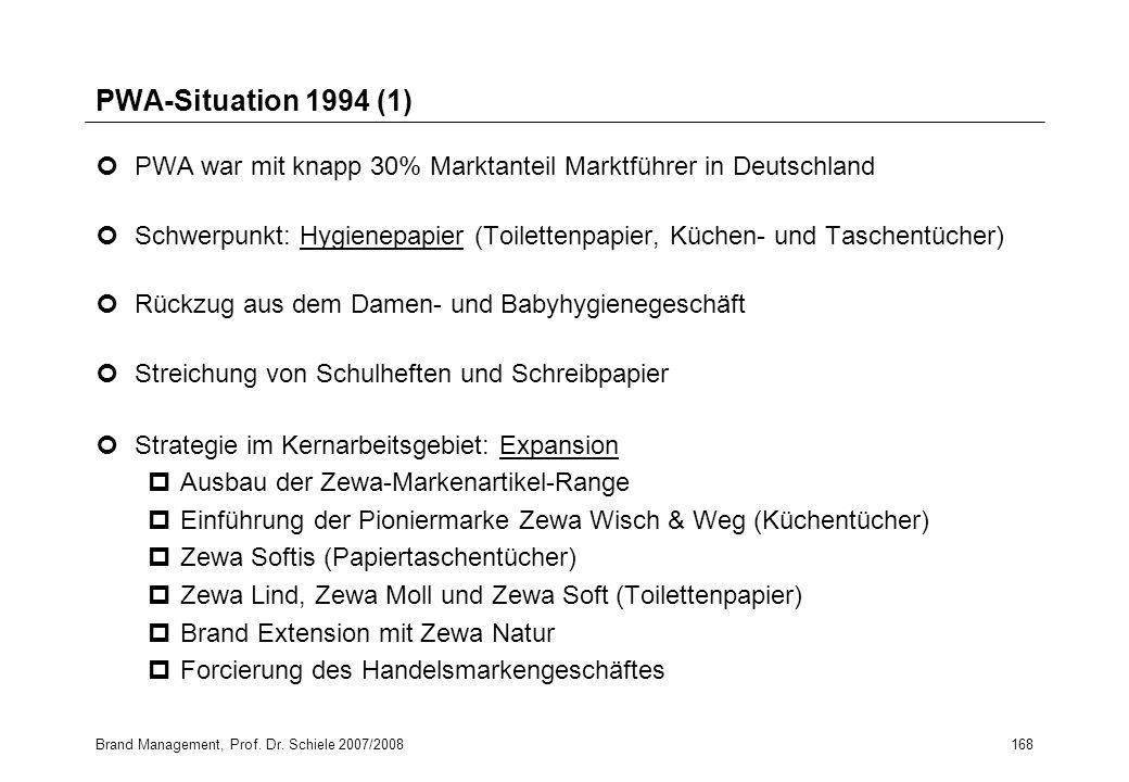 Brand Management, Prof. Dr. Schiele 2007/2008168 PWA-Situation 1994 (1) PWA war mit knapp 30% Marktanteil Marktführer in Deutschland Schwerpunkt: Hygi