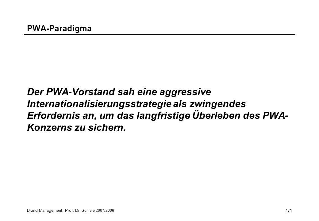 Brand Management, Prof. Dr. Schiele 2007/2008171 PWA-Paradigma Der PWA-Vorstand sah eine aggressive Internationalisierungsstrategie als zwingendes Erf