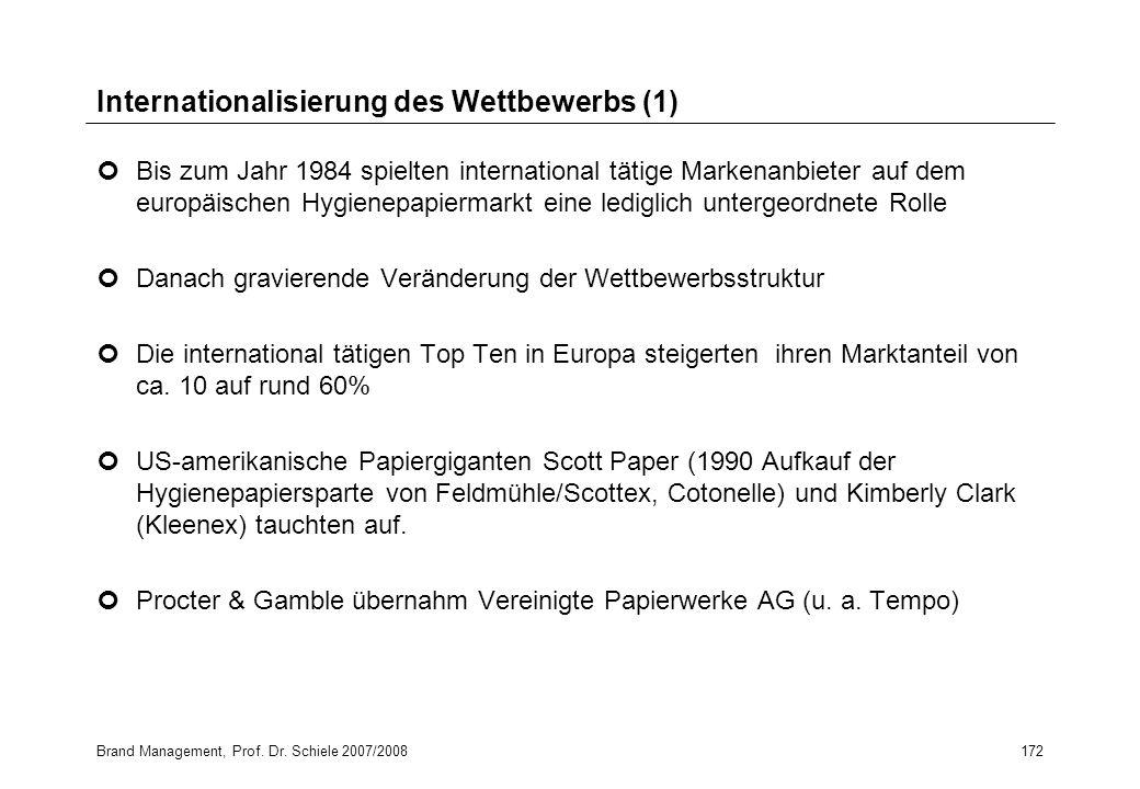 Brand Management, Prof. Dr. Schiele 2007/2008172 Internationalisierung des Wettbewerbs (1) Bis zum Jahr 1984 spielten international tätige Markenanbie