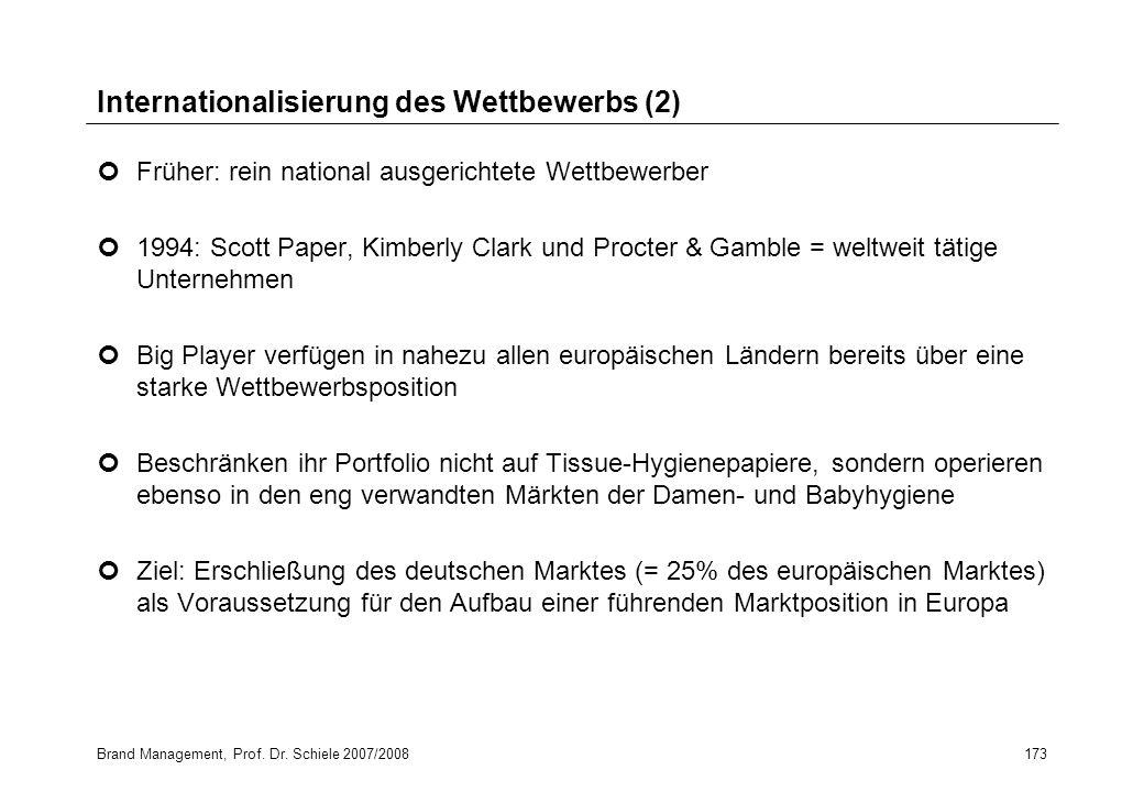 Brand Management, Prof. Dr. Schiele 2007/2008173 Internationalisierung des Wettbewerbs (2) Früher: rein national ausgerichtete Wettbewerber 1994: Scot