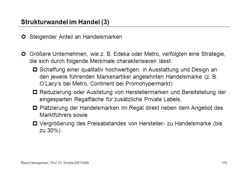 Brand Management, Prof. Dr. Schiele 2007/2008176 Strukturwandel im Handel (3) Steigender Anteil an Handelsmarken Größere Unternehmen, wie z. B. Edeka
