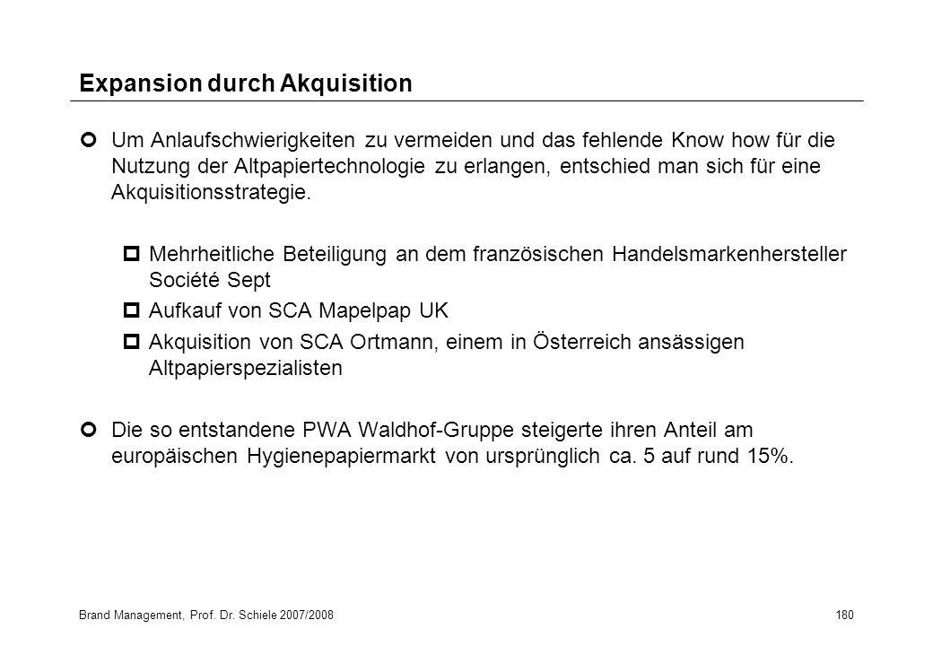 Brand Management, Prof. Dr. Schiele 2007/2008180 Expansion durch Akquisition Um Anlaufschwierigkeiten zu vermeiden und das fehlende Know how für die N