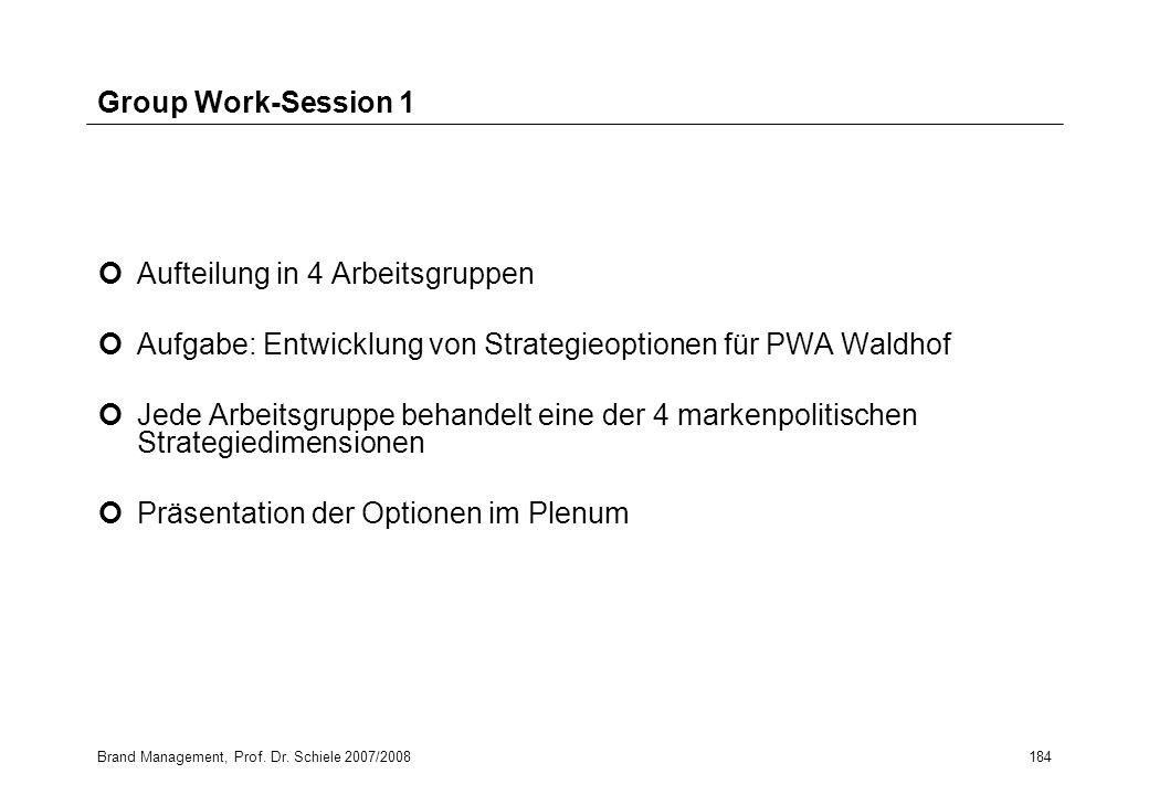 Brand Management, Prof. Dr. Schiele 2007/2008184 Group Work-Session 1 Aufteilung in 4 Arbeitsgruppen Aufgabe: Entwicklung von Strategieoptionen für PW