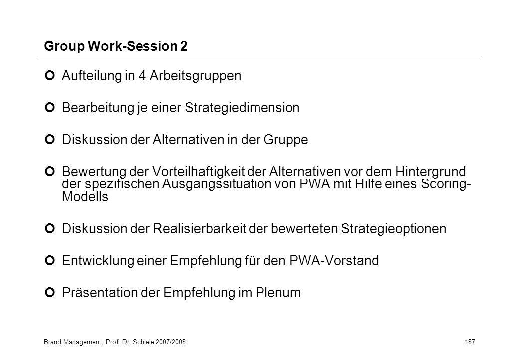Brand Management, Prof. Dr. Schiele 2007/2008187 Group Work-Session 2 Aufteilung in 4 Arbeitsgruppen Bearbeitung je einer Strategiedimension Diskussio