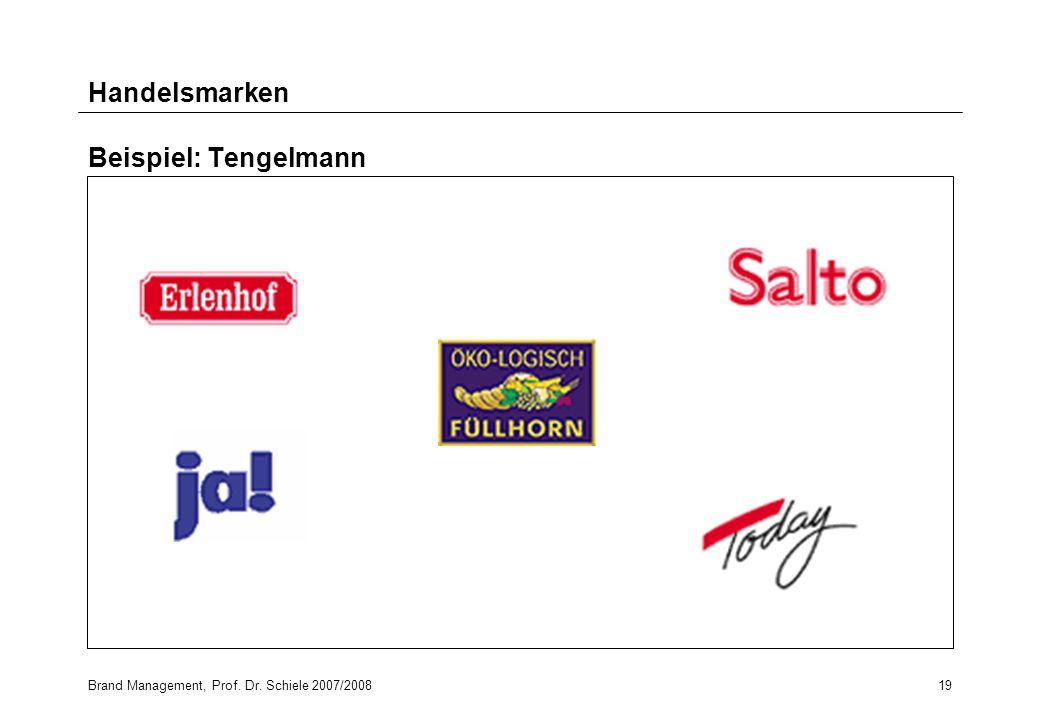 Brand Management, Prof. Dr. Schiele 2007/200819 Handelsmarken Beispiel: Tengelmann