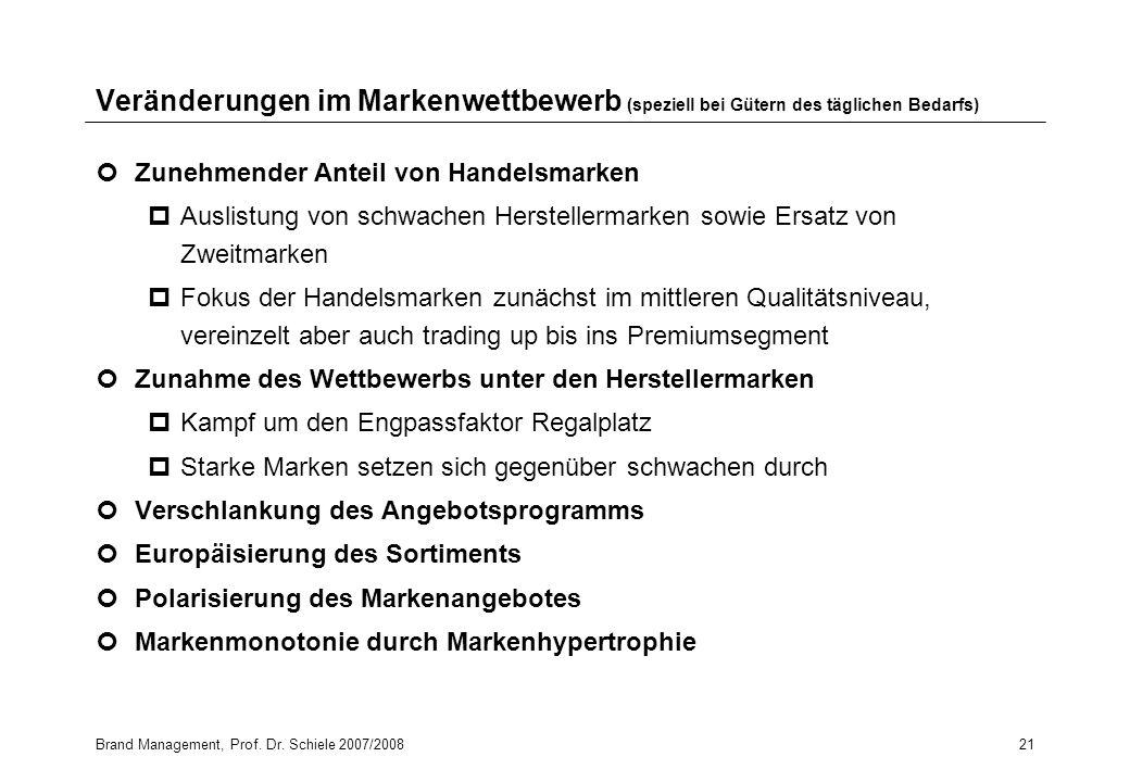 Brand Management, Prof. Dr. Schiele 2007/200821 Veränderungen im Markenwettbewerb (speziell bei Gütern des täglichen Bedarfs) Zunehmender Anteil von H
