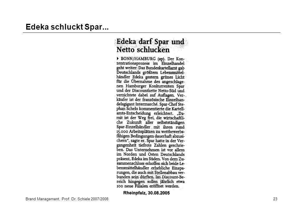 Brand Management, Prof. Dr. Schiele 2007/200823 Edeka schluckt Spar...