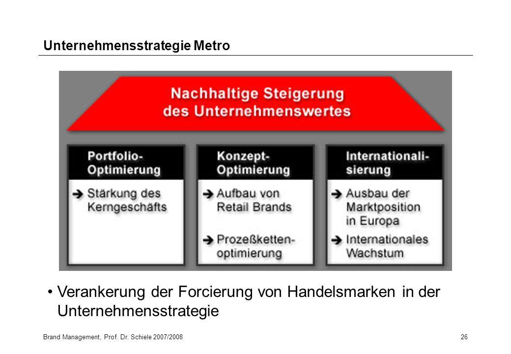 Brand Management, Prof. Dr. Schiele 2007/200826 Unternehmensstrategie Metro Verankerung der Forcierung von Handelsmarken in der Unternehmensstrategie