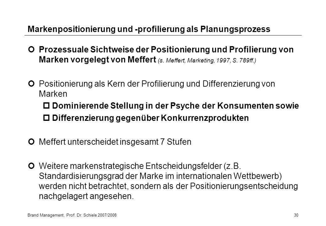Brand Management, Prof. Dr. Schiele 2007/200830 Markenpositionierung und -profilierung als Planungsprozess Prozessuale Sichtweise der Positionierung u