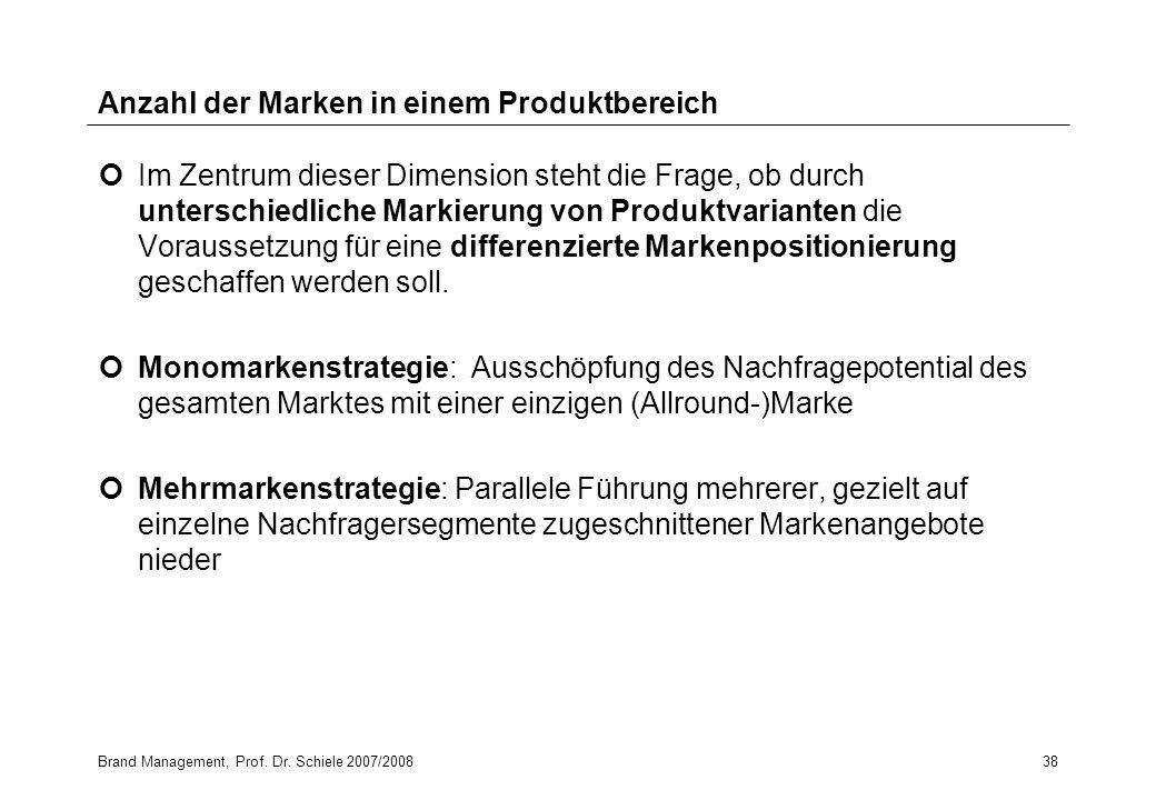 Brand Management, Prof. Dr. Schiele 2007/200838 Anzahl der Marken in einem Produktbereich Im Zentrum dieser Dimension steht die Frage, ob durch unters
