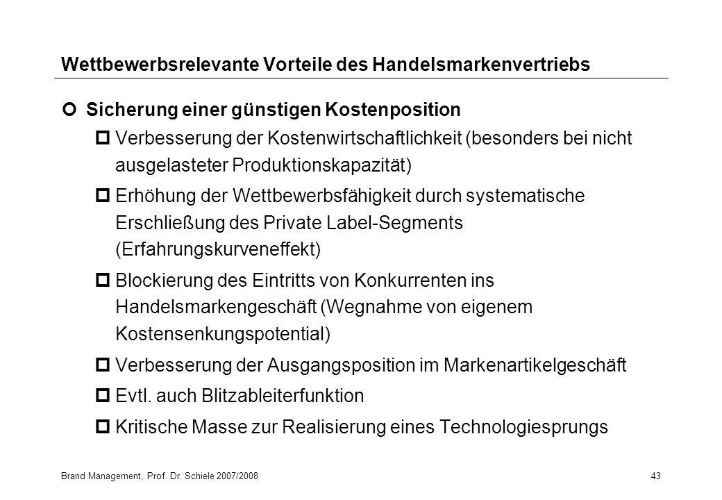 Brand Management, Prof. Dr. Schiele 2007/200843 Wettbewerbsrelevante Vorteile des Handelsmarkenvertriebs Sicherung einer günstigen Kostenposition pVer