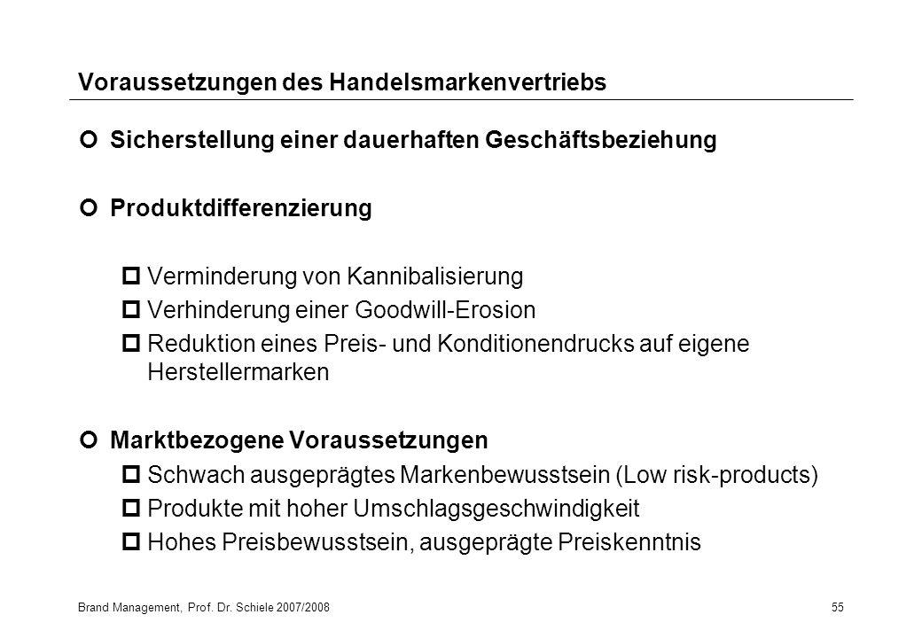 Brand Management, Prof. Dr. Schiele 2007/200855 Voraussetzungen des Handelsmarkenvertriebs Sicherstellung einer dauerhaften Geschäftsbeziehung Produkt