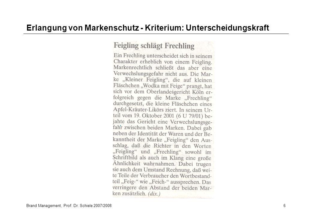 Brand Management, Prof. Dr. Schiele 2007/20086 Erlangung von Markenschutz - Kriterium: Unterscheidungskraft
