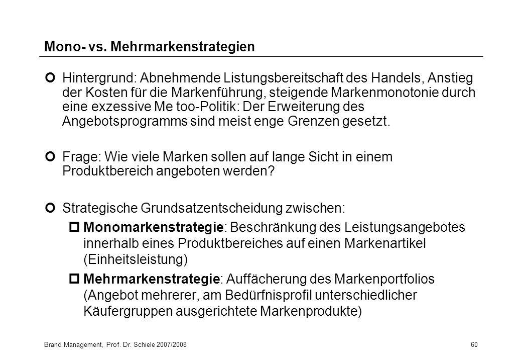 Brand Management, Prof. Dr. Schiele 2007/200860 Mono- vs. Mehrmarkenstrategien Hintergrund: Abnehmende Listungsbereitschaft des Handels, Anstieg der K
