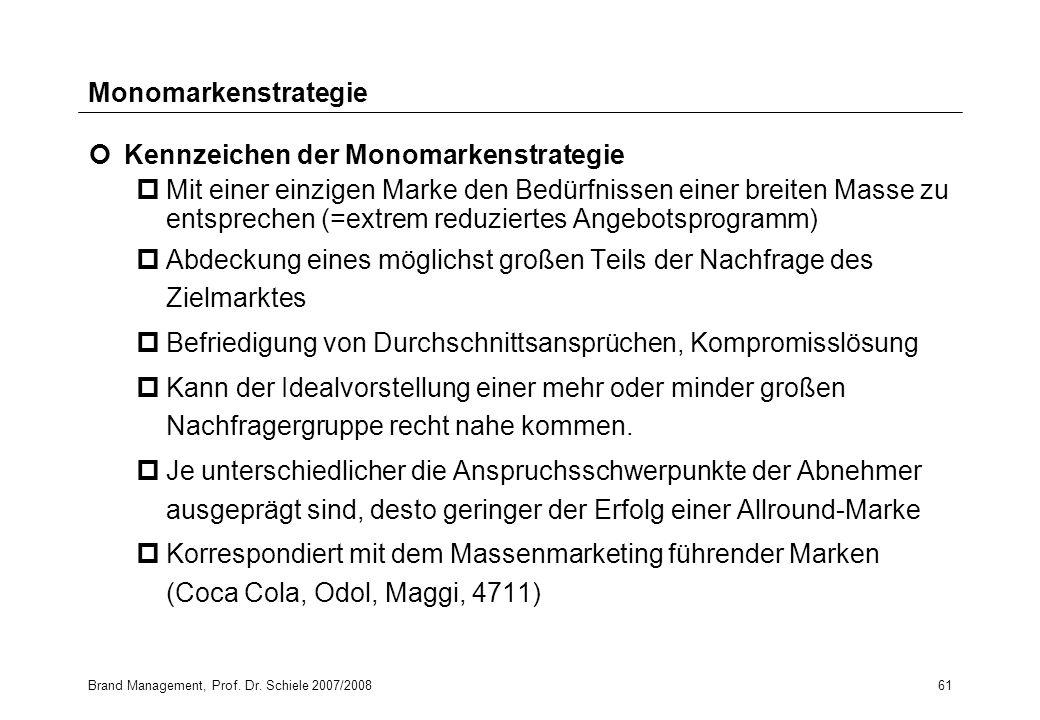 Brand Management, Prof. Dr. Schiele 2007/200861 Monomarkenstrategie Kennzeichen der Monomarkenstrategie pMit einer einzigen Marke den Bedürfnissen ein