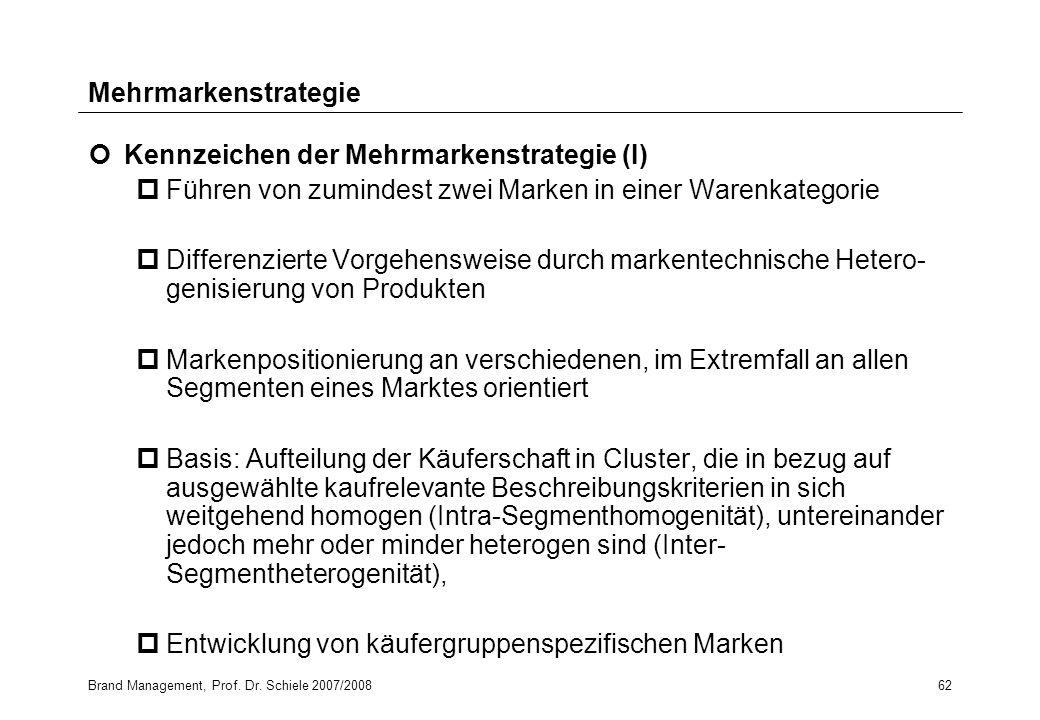 Brand Management, Prof. Dr. Schiele 2007/200862 Mehrmarkenstrategie Kennzeichen der Mehrmarkenstrategie (I) pFühren von zumindest zwei Marken in einer