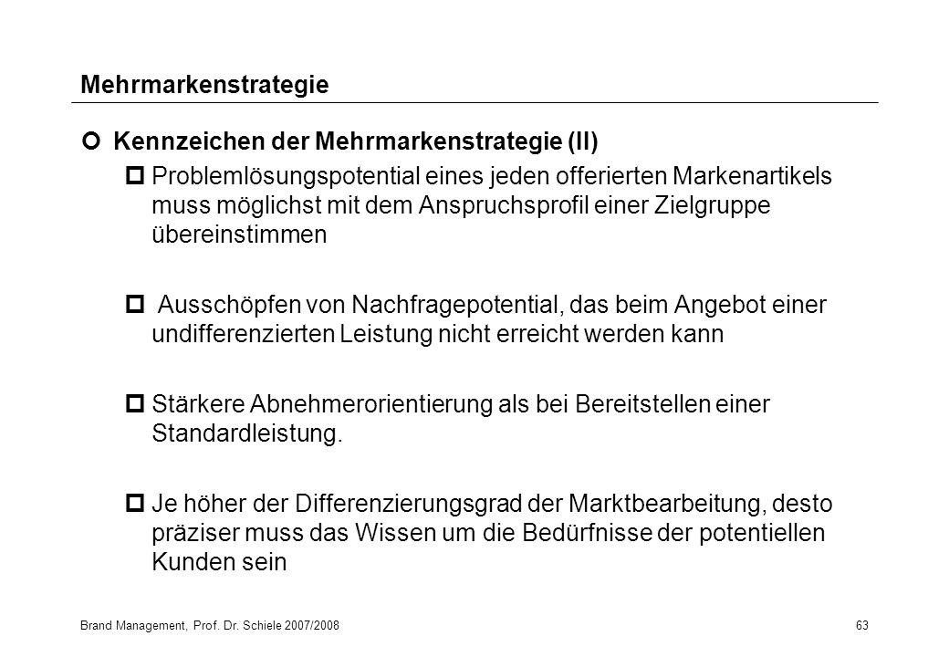 Brand Management, Prof. Dr. Schiele 2007/200863 Kennzeichen der Mehrmarkenstrategie (II) pProblemlösungspotential eines jeden offerierten Markenartike