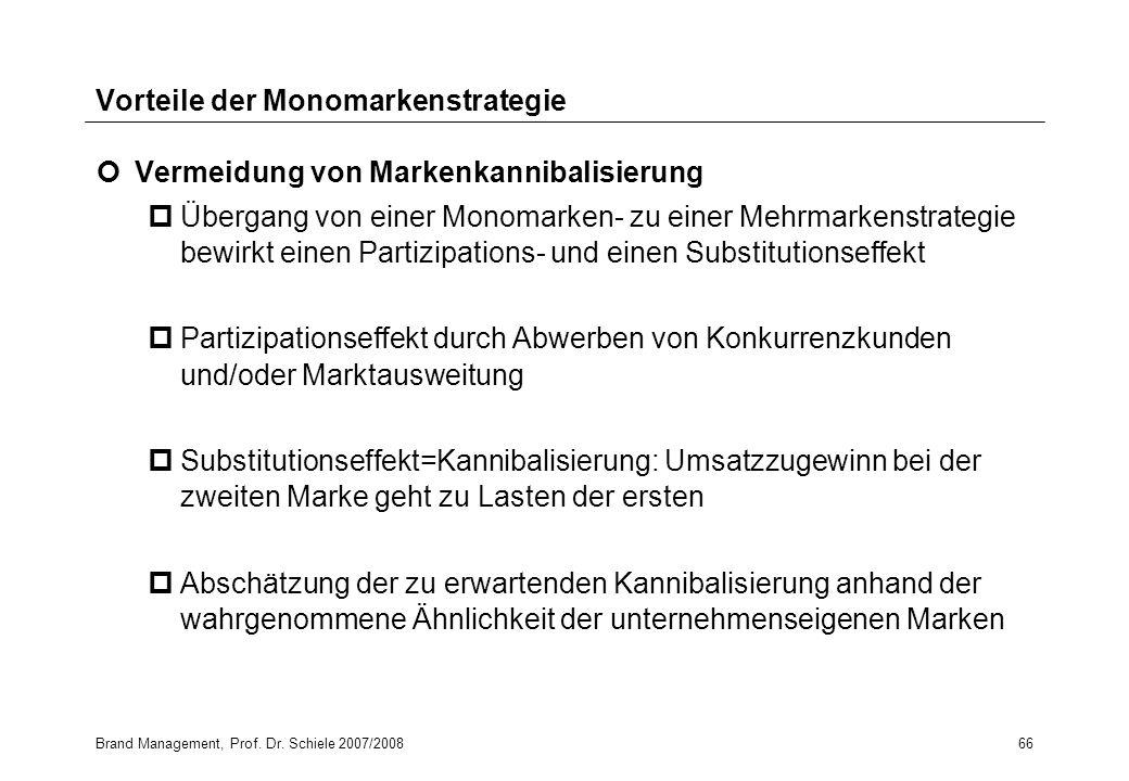 Brand Management, Prof. Dr. Schiele 2007/200866 Vorteile der Monomarkenstrategie Vermeidung von Markenkannibalisierung pÜbergang von einer Monomarken-