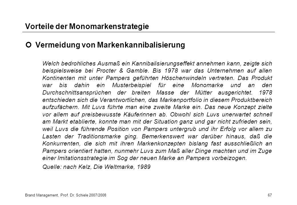 Brand Management, Prof. Dr. Schiele 2007/200867 Vorteile der Monomarkenstrategie Vermeidung von Markenkannibalisierung Welch bedrohliches Ausmaß ein K