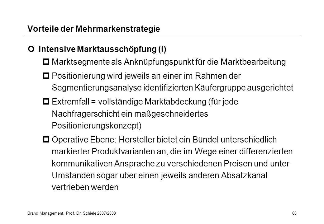 Brand Management, Prof. Dr. Schiele 2007/200868 Vorteile der Mehrmarkenstrategie Intensive Marktausschöpfung (I) pMarktsegmente als Anknüpfungspunkt f