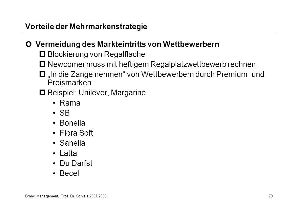 Brand Management, Prof. Dr. Schiele 2007/200873 Vorteile der Mehrmarkenstrategie Vermeidung des Markteintritts von Wettbewerbern pBlockierung von Rega