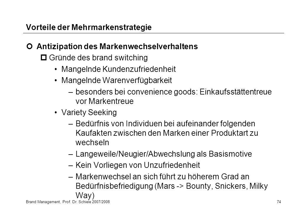 Brand Management, Prof. Dr. Schiele 2007/200874 Vorteile der Mehrmarkenstrategie Antizipation des Markenwechselverhaltens pGründe des brand switching