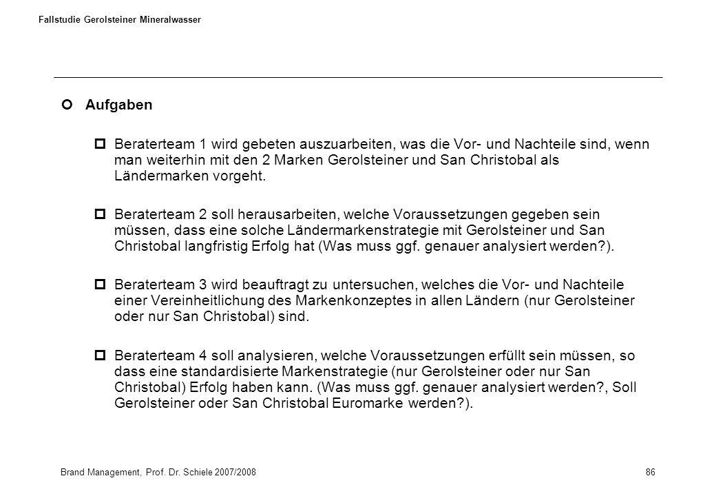 Brand Management, Prof. Dr. Schiele 2007/200886 Fallstudie Gerolsteiner Mineralwasser Aufgaben pBeraterteam 1 wird gebeten auszuarbeiten, was die Vor-