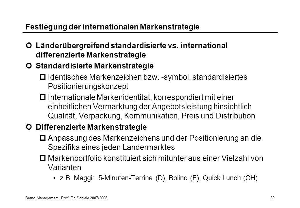 Brand Management, Prof. Dr. Schiele 2007/200889 Festlegung der internationalen Markenstrategie Länderübergreifend standardisierte vs. international di