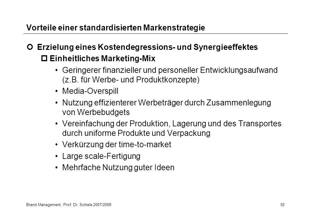 Brand Management, Prof. Dr. Schiele 2007/200892 Vorteile einer standardisierten Markenstrategie Erzielung eines Kostendegressions- und Synergieeffekte