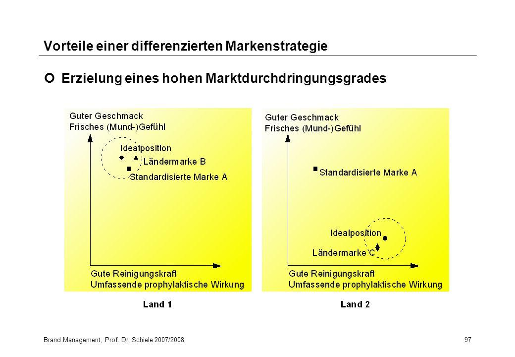 Brand Management, Prof. Dr. Schiele 2007/200897 Vorteile einer differenzierten Markenstrategie Erzielung eines hohen Marktdurchdringungsgrades