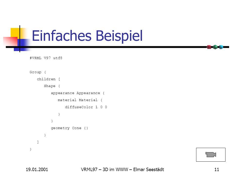 19.01.2001VRML97 – 3D im WWW – Elmar Seestädt10 Knoten - Übersicht