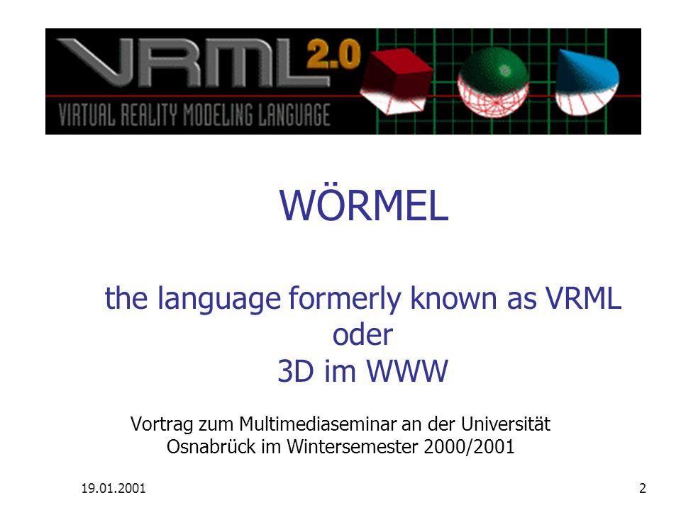 19.01.2001VRML97 – 3D im WWW – Elmar Seestädt12 Es werde Licht Sonderformen Headlight Ambient light Knoten Spotlight Directional light Pointlight