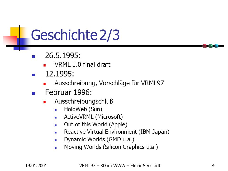 19.01.2001VRML97 – 3D im WWW – Elmar Seestädt3 Geschichte 1/3 1984: William Gibson, Neuromancer Begriff Cyberspace 1990: Neal Stephanson, Snow Crash v
