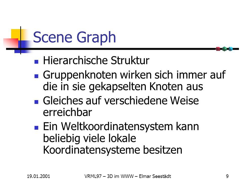 19.01.2001VRML97 – 3D im WWW – Elmar Seestädt9 Scene Graph Hierarchische Struktur Gruppenknoten wirken sich immer auf die in sie gekapselten Knoten aus Gleiches auf verschiedene Weise erreichbar Ein Weltkoordinatensystem kann beliebig viele lokale Koordinatensysteme besitzen