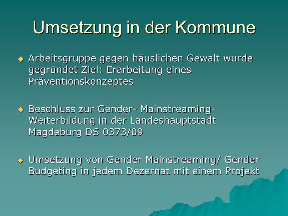 Umsetzung in der Kommune Arbeitsgruppe gegen häuslichen Gewalt wurde gegründet Ziel: Erarbeitung eines Präventionskonzeptes Arbeitsgruppe gegen häusli