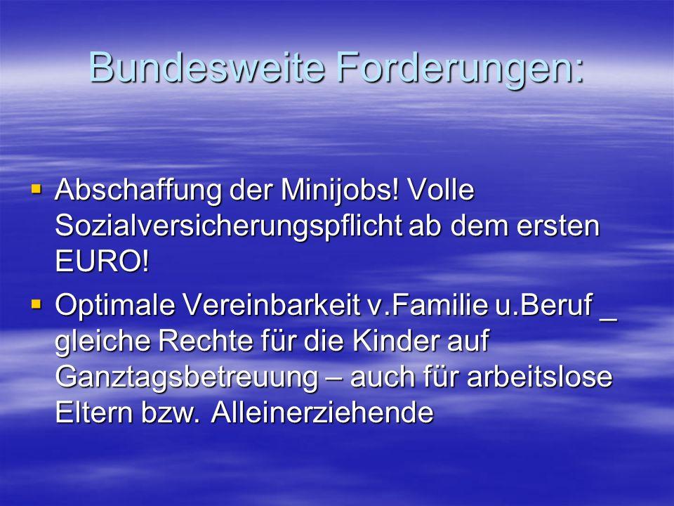Bundesweite Forderungen: Abschaffung der Minijobs.
