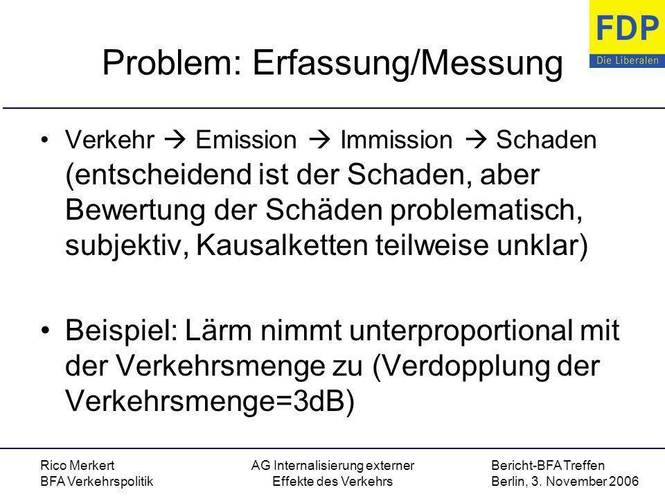 Bericht-BFA Treffen Berlin, 3. November 2006 Rico Merkert BFA Verkehrspolitik AG Internalisierung externer Effekte des Verkehrs Problem: Erfassung/Mes