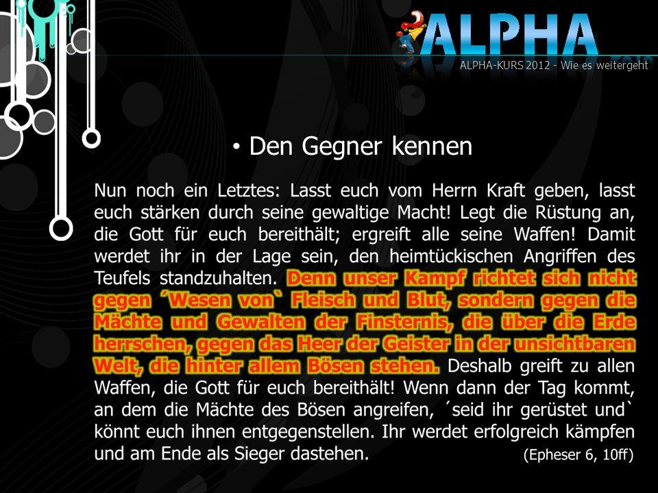 ALPHA-KURS 2012 - Wie es weitergeht Den Gegner kennen