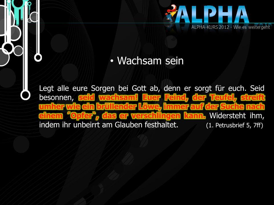 ALPHA-KURS 2012 - Wie es weitergeht Wachsam sein