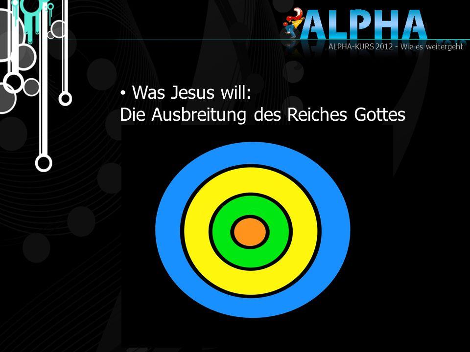 ALPHA-KURS 2012 - Wie es weitergeht Was Jesus will: Die Ausbreitung des Reiches Gottes